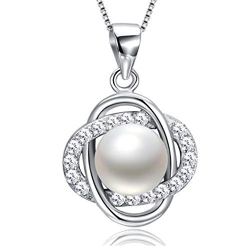 erling-Silber mit Zirkonia und Perle von Yeahjoy, für Damen zur Hochzeit, oder als Geschenk für Brautjungfern (Weihnachten Dekorationen Verkauf)
