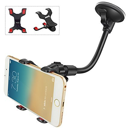 IPOW X Clamp Car Mount,6 Inches Long Arm Universal Windshield Dashboard Cell Phone Holder with Strong Suction Cup