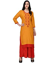 Prateek Exports Women's Cotton Rayon Embroidered Printed Long Straight Kurti Kurta