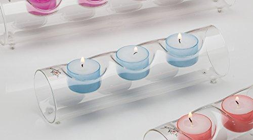 3x Teelichthalter CANDLE MOOD Teelichtglas Glas Kerzenglas Röhre 22 cm