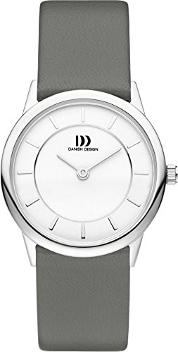 Danish Design Women's Quartz Watch with White Dial Analogue Display and Grey Leather Strap DZ120414