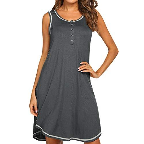 Bovake Damen ärmelloses Umstandskleid, atmungsaktiv, mit Knopfleiste, einfaches Stillkleid für Mutter, Polyester, grau, S -