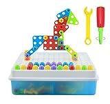 BBLIKE 3D Assembly Mosaic Puzzles Juguetes de construcción Desaparecer Imaginación Bloques de ladrillos de construcción Juegos de construcción de niñosde bricolaje con tuercas de tornillo Herramientas Regalos de cumpleaños para niños de 3 Años+(189PCS)
