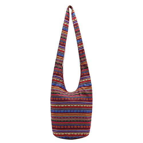 VADFLOD Frauen böhmischen Hobo Bag Schultertasche Bunte geometrische Muster gedruckt Tote böhmischen Schulter Shoping Taschen Handtasche, rot -