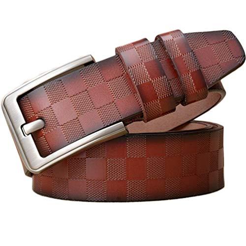 ES-COW Classic Plaid Cowhide Genuine Claw Buckle Belt 109.7-129.7 Cm High Grade Gift Box Belt Denim Belt Male Coffee Color Red Brown Black