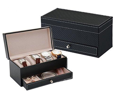 Preisvergleich Produktbild iSuperb® Leder Uhrenbox Schmuckkasten 4 Uhren Uhrenkoffer Für Damen Herren Weihnachten Geschenk 22.3x11x10.7cm (Schwarz)