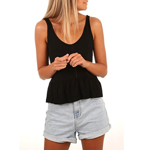 Lightweight Camisole (DRESS_start damen v-ausschnitt sexy weste fashion camisole ärmelloses sport weste lässige bandage t-shirt aushöhlen tank tops s-xl (S, Schwarz))