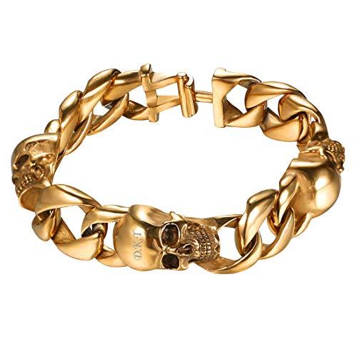 U7 Herren Armband Name Gravur Gotik Totenkopf Panzerkette Armband 18k vergoldet 12MM Punk Biker Rocker personalisiert Armkette Armschmuck - Gold (Name Für Tags Halloween)