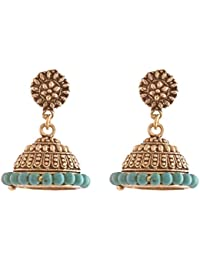 Ganapathy Gems Oxidised Brass Plated Jhumki With Turquoise Beads (7702) 7702