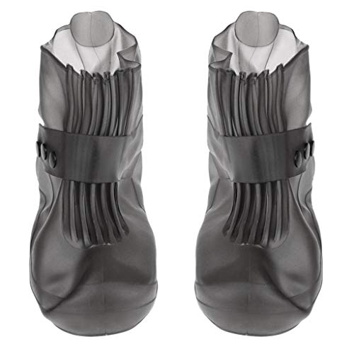 perfk Premium Regenüberschuhe überziehschuhe Schuhüberzieher Überschuhe Rutschfest Regenstiefe Regenschuhe aus PVC - Graue Größe 9