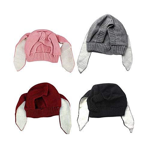 Maxgoods 4 pezzi bambino inverno caldo cappello lavorato a maglia, neonato capretto all'uncinetto orecchie da coniglio beanie berretto, carino paraorecchie per bambini in autunno inverno