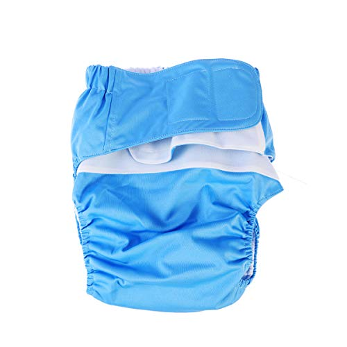 Healifty Adult Cloth Diaper Reusable Washable Adjustable Nappy Diaper Old Man Disabled Postoperative Care (Sky Blue)