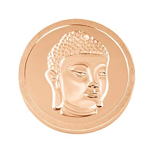 Quiges Rosegold Large Coin 33mm Buddha Gesicht für austauschbare Anhänger Münzfassung Halskette -
