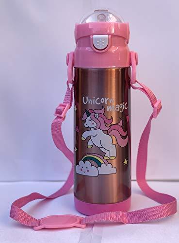 Character Favourite - Botella de agua infantil (500 ml), diseño de unicornio