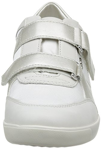 Geox D Tieta A, Baskets mode femme Blanc (White/Off White)