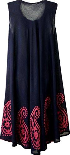 Guru Di Shop Tunica Vestito XXL, ricamata tunica Hippie Chic–Nero/Rosso, da donna, Fibra sintetica, Size: 46, Midi Abiti Alternative Abbigliamento Blu/Rosa