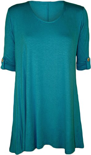 Womens Plus Size Scoop Neck Short Sleeve Flared Ladies Long Plain Top - Turquoise - 22/24
