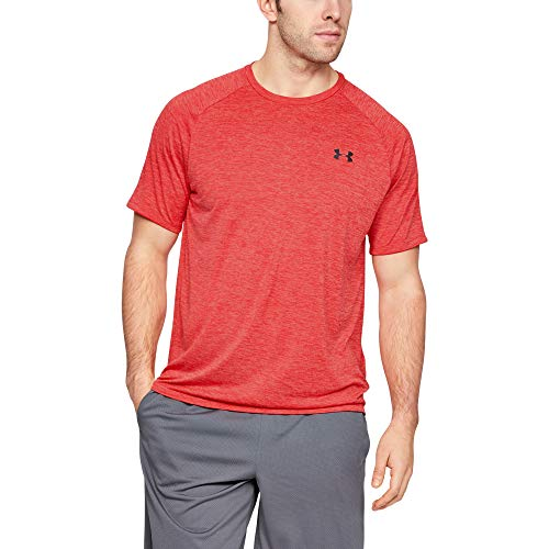Under Armour Herren atmungsaktives Sportshirt, kurzärmliges und schnelltrocknendes Trainingsshirt mit loser Passform UA Tech 2.0 SS Tee, Rot, LG - Herren Under Armour Trainings-shirt
