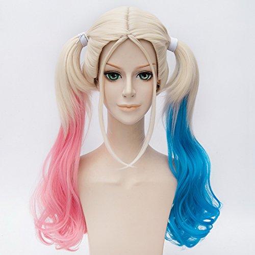 EDAY 50cm Selbstmord Kader Harley Quinn Cosplay Perücke Lolita Pigtail lockiges Haar, rosa + (Haar Quinn Harley)