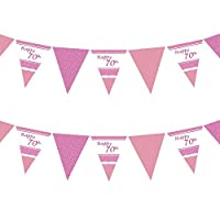 70th Perfectly Pink Girls Classy Happy Birthday, Anniversary, Special Occasion, Party Decoration Bunting Flags One Sided - 12FT (1 Pack)