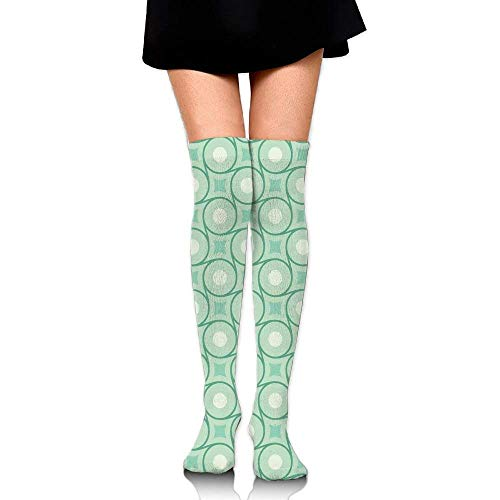 OQUYCZ Woman's Circles and Dots Linked with Lines Wavy Squares Geometric Retro Style Popular High Boot Socks