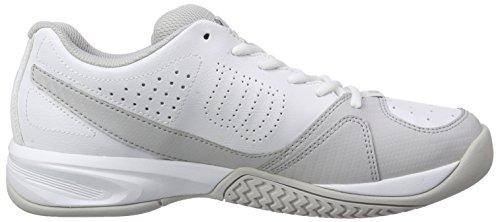 Wilson Scarpe da Tennis da Uomo, Ideali per Giocatori di Tutti i Livelli, per Ogni Terreno di Gioco, Rush Open 2.0, Tessuto/Sintetico Multicolore (White/Steel Grey/Cool Grey)