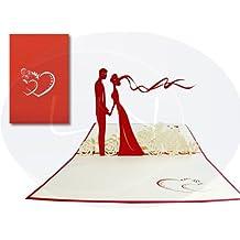Biglietto tridimensionale pop-up di matrimonio, soggetto: sposini su prato fiorito