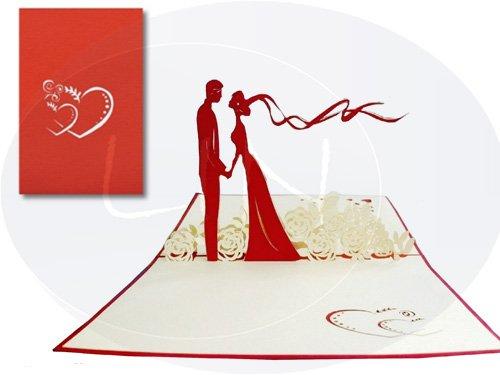 Leinen Grußkarte Hochzeit mit der Motive
