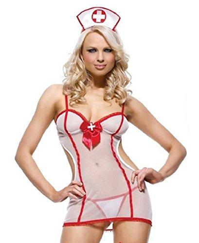 tüm Krankenschwestern -Outfit in weiß und rot Größe 34-40 (Fancey Kleid)