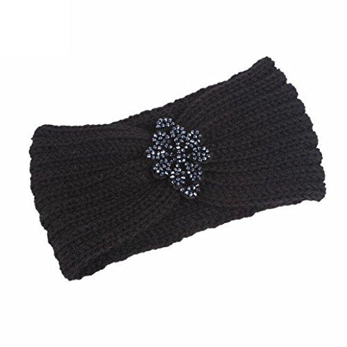 Muium Frauen stricken Stirnband handgemacht halten Sie warmes Haarband (Schwarz) (Stirnband Stirnband Schwarz,)