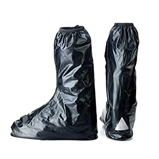 JOYOOO Waterproof Overshoes - Anti-slip Rain Shoe Covers Springtime Summer Rainstorm Rainy Day - Motorcycle Road Bike Driving Boot Outdoor rain boot covers with Side Zipper Adult -Reflective Heel Fold