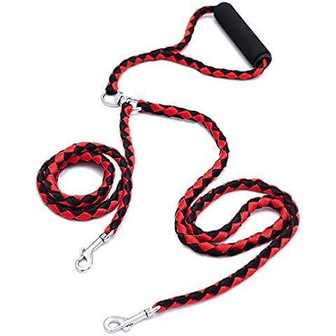 Locisne No se enreda correa de perro doble de 1.4m 2 perros de nylon (rojo y negro)