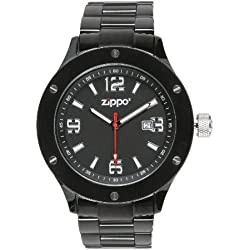 Zippo Men's Rugged Precision Timepiece Stainless Steel Watch 45007 With Black Dial