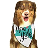 Hipiyoled Pet Bandanas New York Map Silhouette Adjustbable Collars Pet Bandana Bibs for Puppy Cats