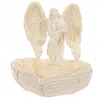 Cream Angel Figurine Heart Shaped Wings Bowl - CHERUBS AND ANGELS