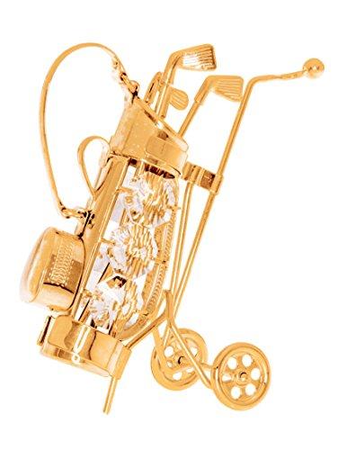 Crystal Temptations Geschenk für Golfer Vergoldet Metall Figur mit Swarovski-Kristallen Golf Bag
