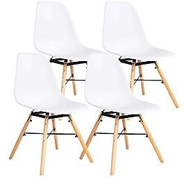 Ellexir Chaises de salle à manger en plastique avec pieds en bois, chaises modernes, idéales pour salon, bureau…