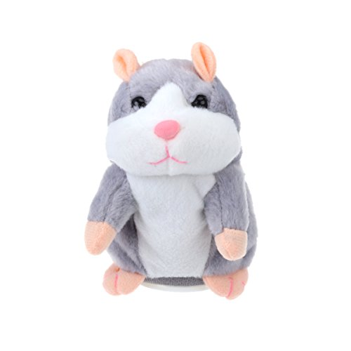 TOYMYTOY Talking Hamster Plush Toy Repeats What You Say Mimicry Pet Toy Electronic Record Toy for Kids Early Learning Gift (Grey)