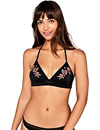 Iris & Lilly Women's Floral Embroidered Bikini Top