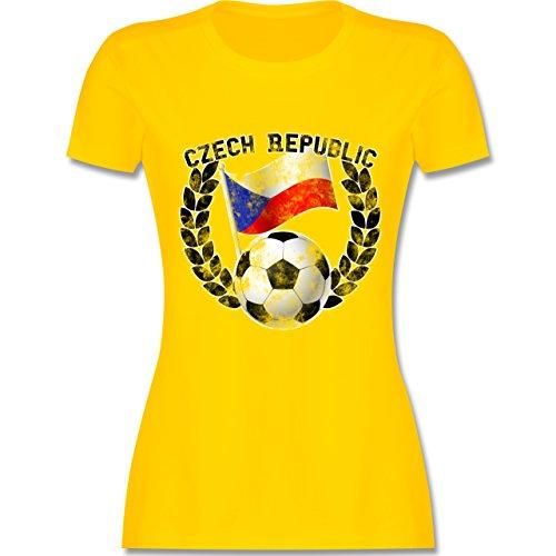 EM 2016 - Frankreich - Czech Republic Flagge & Fußball Vintage - tailliertes Premium T-Shirt mit Rundhalsausschnitt für Damen Gelb