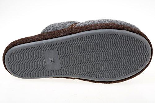 GIBRA® Homme Chaussons, Très Léger, marron/gris, Taille 40–45 Marron/gris