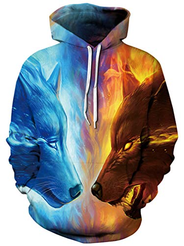 puzenpullover Lebensecht 3D Grafik Hoodie mit Kängurutasche Pullover mit Kapuze Sweat Hood (S/M (Brustumfang: 112-132CM), A-Eisfeuer Wolf) ()