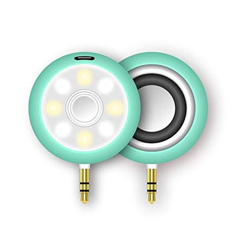 Tragbare 3,5 mm AUX Audio Jack Mini Wireless Lautsprecher klar Bass Lautsprecher mit Selfie Licht wiederaufladbare für Telefon Pad Laptop PC-grün (Licht Grünes Computer-lautsprecher)