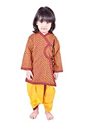 RTD Rajasthani Ethnic Fashion Red Yellow Kids Angrakha Dhoti