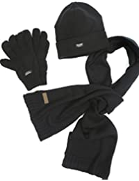 VEDONEIRE Mens Hat Scarf Glove set (3016 BLACK) christmas gift winter warm fleece