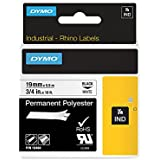 Dymo 18484 Rhino PRO Industrial-Strength Permanent Adhesive Fabric Label - Roll of 19.05 mm x 5.49 m, White