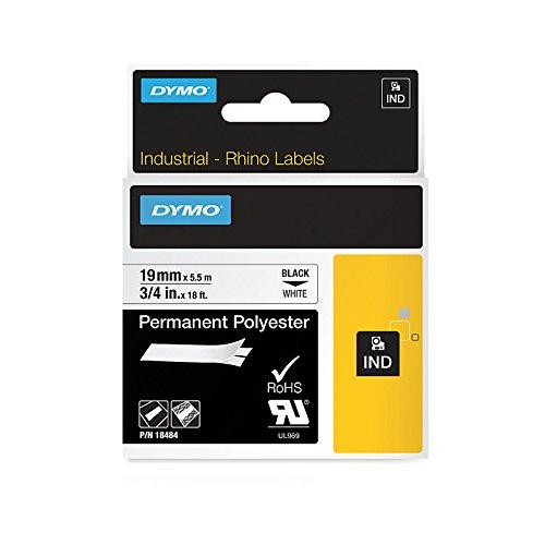 Dymo 18484 RhinoPro-Polyesterband mit Industrieklebstoff (Rolle mit den Maßen 1,91cm x 548,64cm, Permanent klebendes) weiß -