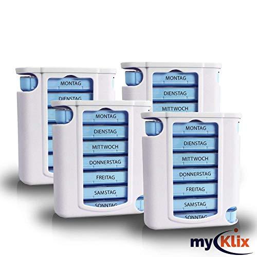 myKlix 4X Praktische Tablettendose - Pillenbox Organizer 7 Tage Aufbewahrung Wochendosierer und Medikamentendosierer - Pillendose Aufbewahrung für unterwegs und zu Hause