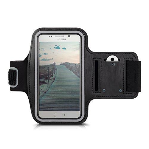 Galleria fotografica kwmobile fascia da braccio sportiva per Samsung Galaxy A3 (2016) - jogging corsa borsa da sport fascia fitness con scomparto per chiavi nella fascia da braccio in nero