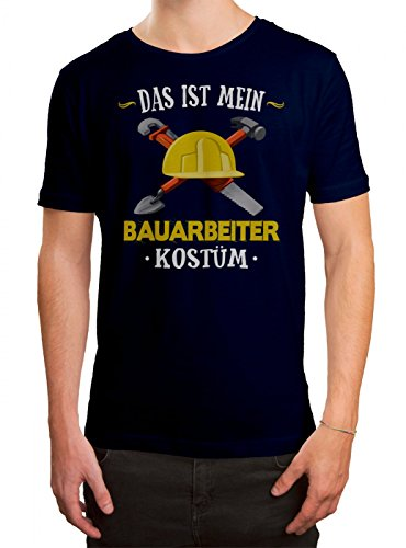 Kostüm Bauarbeiter Premium T-Shirt Verkleidung Karneval Fasching Herren Shirt, Farbe:Dunkelblau (French Navy L190);Größe:M